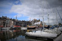White boats on the pier in the French city royalty free stock photography