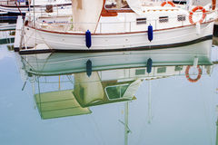White boats and yachts in the quay Royalty Free Stock Photography