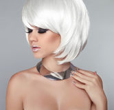 White Bob Hairstyle. Beauty Blond Girl Portrait with Smokey eyes Stock Photos