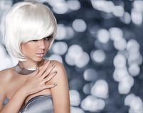 White Bob Hairstyle. Fashion Blond Girl. Glamour Woman portrait Royalty Free Stock Image