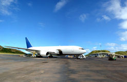 White Boeing 767 at airport Stock Photography