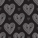 White Boho Ornamental Hearts On Black Background Seamless Pattern