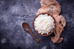 White boiled rice on bowl. White boiled rice on bow. Top view Stock Images