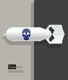 White bomb blue skull Royalty Free Stock Photography