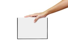 White book. In the hand isolated on white royalty free stock photo