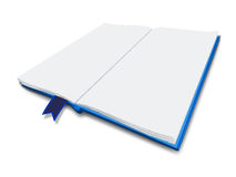 White  Book. Blue cover white blank page 3D book with perspective view and white  background Stock Photography