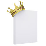 A white book and gold crown Royalty Free Stock Image