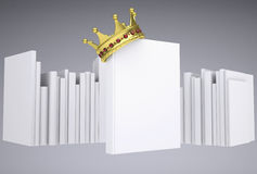 A white book and gold crown Royalty Free Stock Images