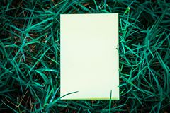 White book with green leaf stock photography