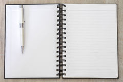 White book memo blank open line with pen Royalty Free Stock Photos