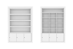 White Book Shelves. Set of white Book Shelves.high res render Royalty Free Stock Photo