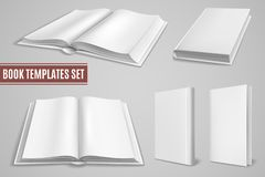 White book templates. Blank open book covers, closed brochure covers. Empty textbook with hardcover. Isolated vector stock illustration