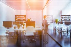 White bookcases office interior, glass wall, man royalty free stock image