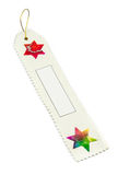 White bookmark or present tag made of mulberry paper Royalty Free Stock Photo