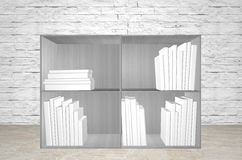 White books on grey shelfs Stock Photography