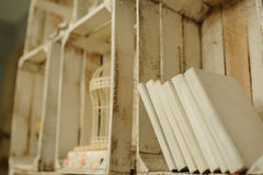 White books on a wood shelf in vintage interior. White books on a wood shelf stock images