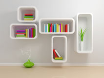 White bookshelf Royalty Free Stock Photos