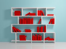 White bookshelf. With a red books against blue wall Royalty Free Stock Photography