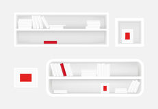 White bookshelf and photo frame. Books collection with one red book. Realistic vector. For furniture banners design. White bookshelf and photo frame. Books Stock Photo