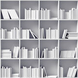White bookshelves. (illustrated concept royalty free illustration