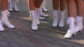 White boots on nice legs Stock Image