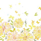 White border with dahlia and butterfliy. stock illustration