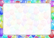 White border text box with colorful balloons. A white border text box with colorful balloons Royalty Free Stock Photos