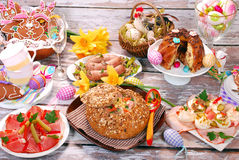 White borscht in bread and other dishes for easter Stock Images