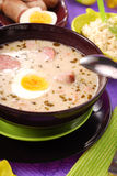 White borscht with horseradish for easter royalty free stock photos