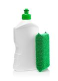 White Bottle And Kitchen Sponge Stock Image