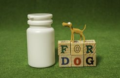White bottle and clay dog stand on alphabet blocks Stock Photos