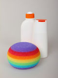 Bottle cosmetic and sponge Royalty Free Stock Photo
