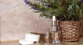 White bottle of cosmetic product. Skincare beauty treatment, natural cosmetic makeup, organic skincare serum product. Beauty concept, herb bio and spa concept royalty free stock photo