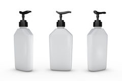 White bottle with dispenser pump, clipping path included Royalty Free Stock Photo