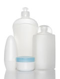 White bottles of health and beauty products Stock Images
