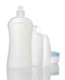 White bottles of health and beauty products Stock Photo