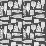 White bottles seamless pattern. Hand drawn seamless pattern with different bottles. Creative monochrome ornament  for prints and decoration. Chalckboard style Stock Photos