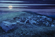 White boulders on the hillside at night Royalty Free Stock Photography