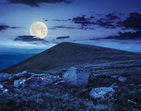 White boulders on the hillside at night Stock Photography