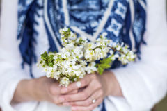 White bouquet of blooming spring flowers in the hands Royalty Free Stock Photography
