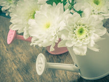 White bouquet flowers in watering can Stock Photos