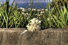 White bouquet on wall Stock Images