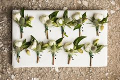 White Boutonniere for Wedding Event Party royalty free stock images