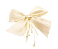 The white Bow With Beads stock image
