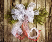 White bow Christmas wreath Royalty Free Stock Photos