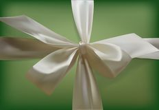 White bow on a green background. Realistic bow of ribbon. Vintage. Vector background.  Royalty Free Stock Image