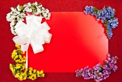 White bow and greeting card Royalty Free Stock Images