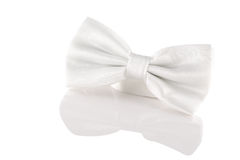 White bow tie close up. On white background Royalty Free Stock Photography