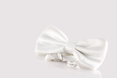 White bow tie close up. On white background Royalty Free Stock Photo