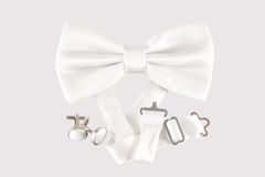 White bow tie  with cuff links. On white background Stock Photo